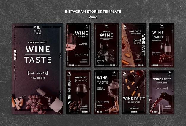 Wine instagram stories template Free Psd