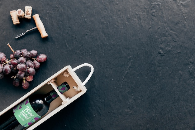 Wine mockup with copyspace on right Free Psd