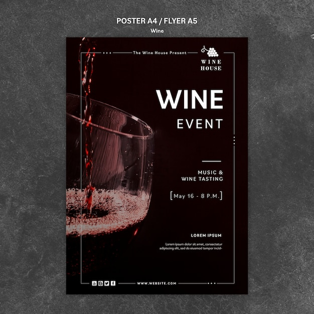 Wine poster template concept Free Psd