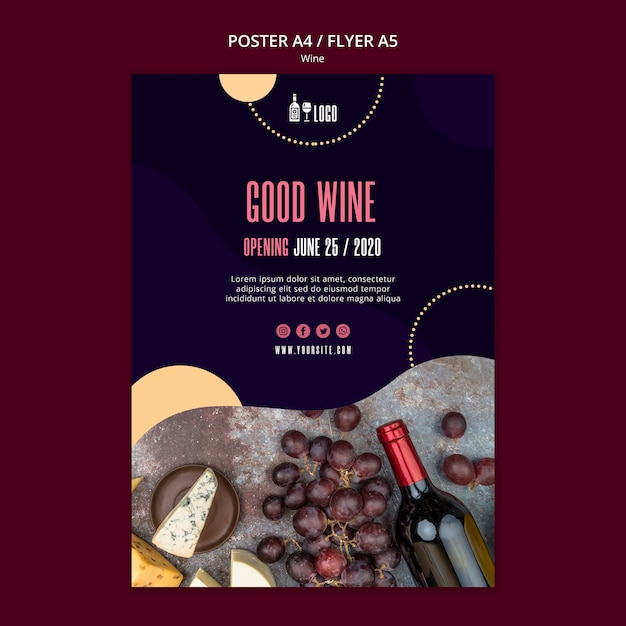 Disegno del modello di poster di vino Psd Gratuite