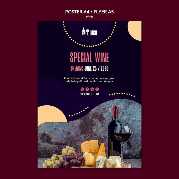 Wine poster template theme Free Psd