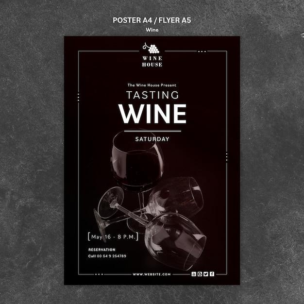 Tema del modello di poster di vino Psd Gratuite