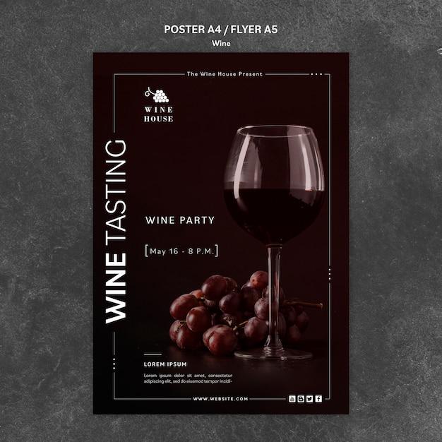 Modello di poster di vino Psd Gratuite