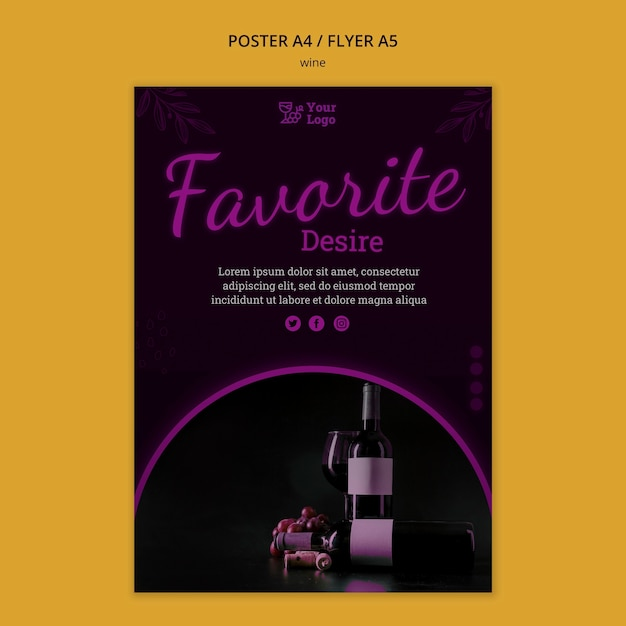 Modello di volantino promozionale del vino con foto Psd Gratuite