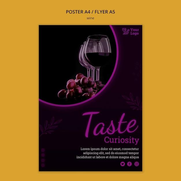 Шаблон рекламного плаката вина с фото Premium Psd