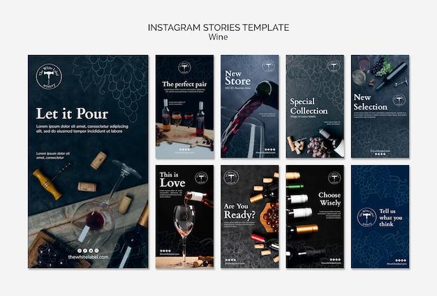 Wine shop instagram stories template Free Psd