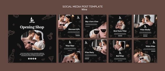 Modello di post di social media vino Psd Gratuite