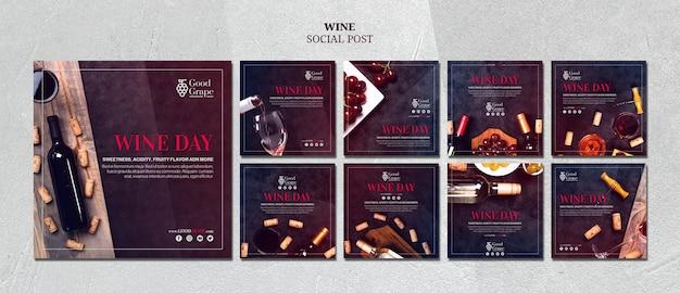 Шаблон сообщения в социальных сетях wine Бесплатные Psd