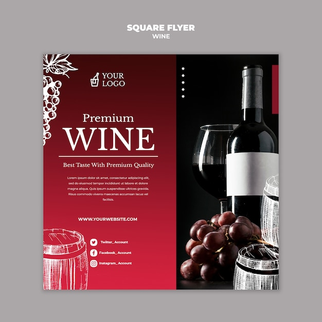 Stile volantino quadrato con degustazione di vini Psd Gratuite