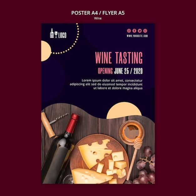 Modello di vino per poster Psd Gratuite
