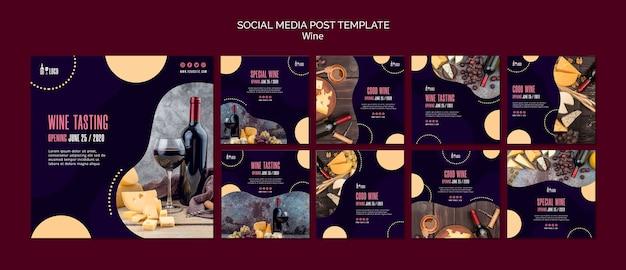Modello di vino per post sui social media Psd Gratuite