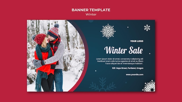Winter concept banner template Free Psd
