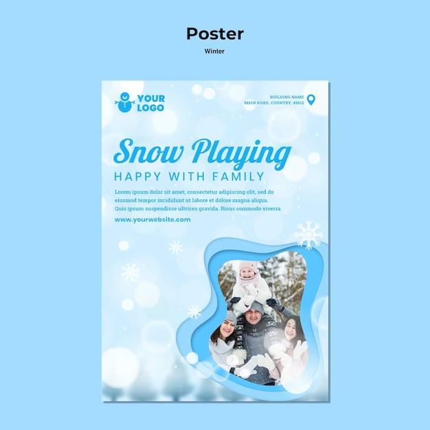 Зимний семейный шаблон плаката Бесплатные Psd