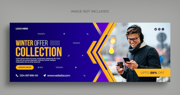 Winter fashion sale social media web banner flyer and facebook cover template Premium Psd