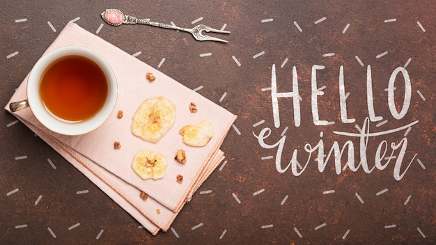 Winter hot tea beverage mock-up Free Psd