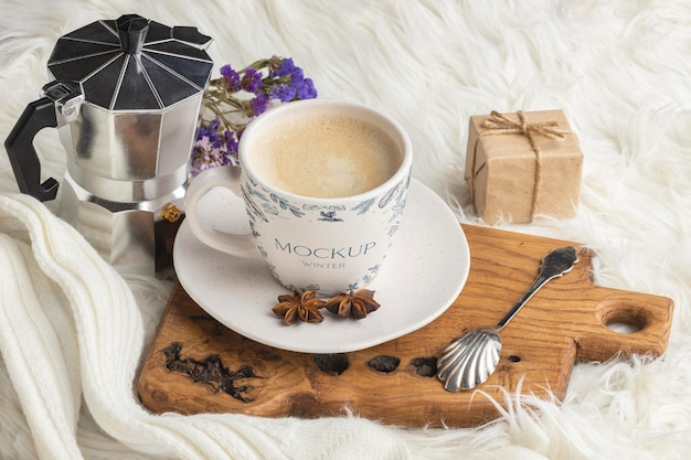 Winter hygge assortment with cup of coffee mock-up Free Psd