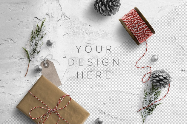 선물 상자와 꼬기가있는 겨울 모형 프리미엄 PSD 파일