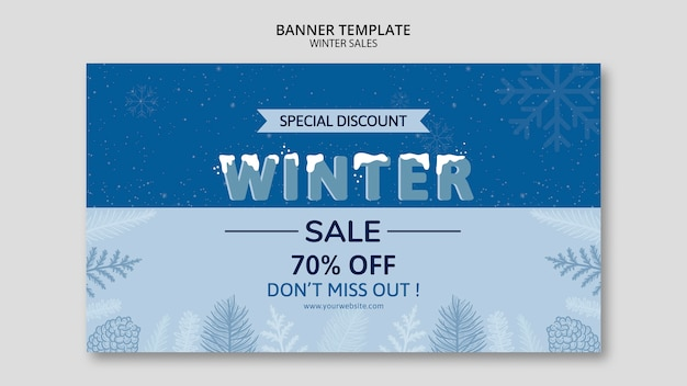 Winter sale in banner template Free Psd