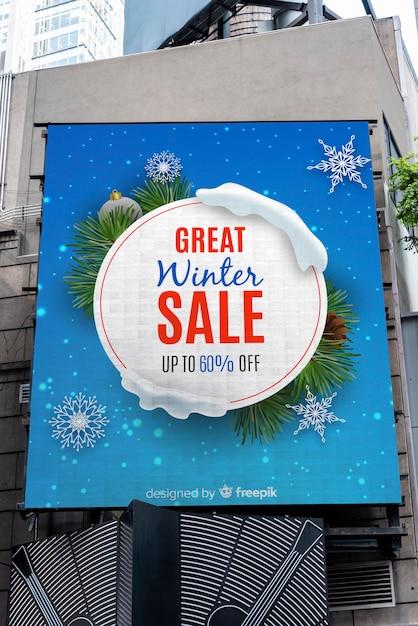 Winter sale billboard sign Free Psd
