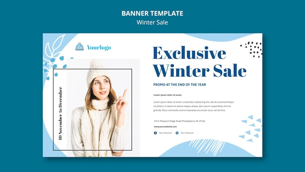Winter sale collection banner template Premium Psd