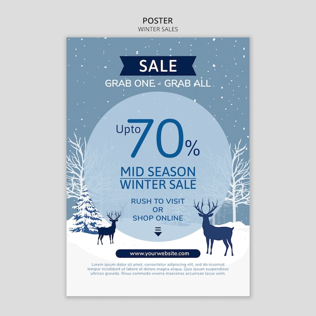 Winter sales poster with reindeer Free Psd