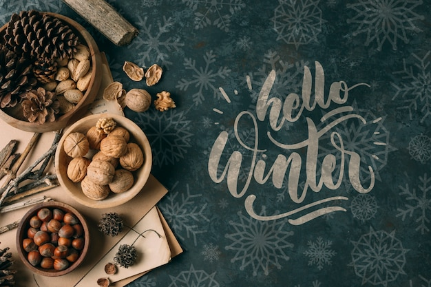 Winter snack with hello winter greeting Free Psd