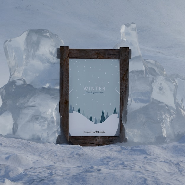 Winter theme on frame on icy winter Free Psd