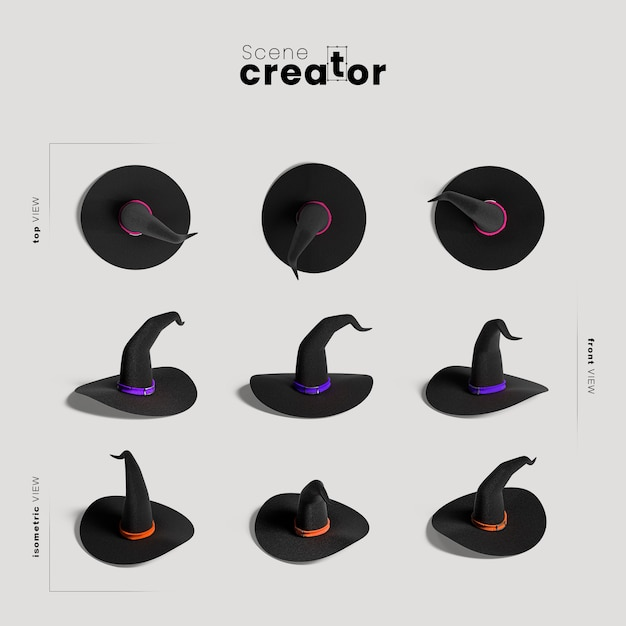 Witch hat  variety of angles halloween scene creator Free Psd