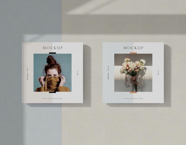 여자와 꽃 편집 잡지 모형 무료 PSD 파일