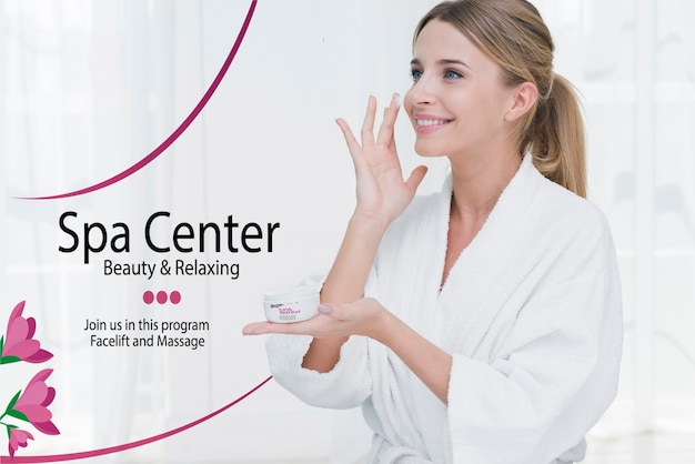 Woman applying moisture cream at spa template Free Psd