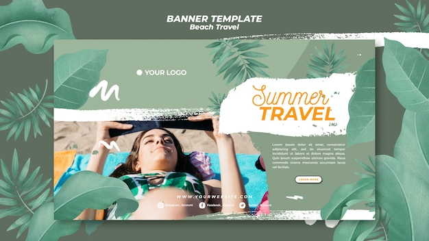 Woman at the beach summer travel banner Free Psd