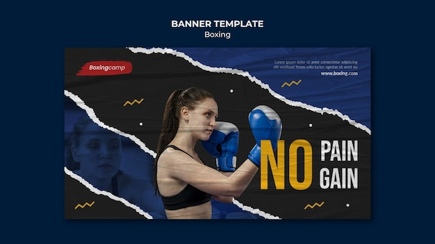 Woman boxing banner template Free Psd