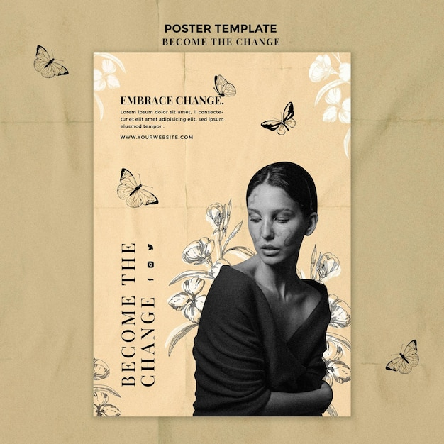 Woman and butterflies poster template Free Psd