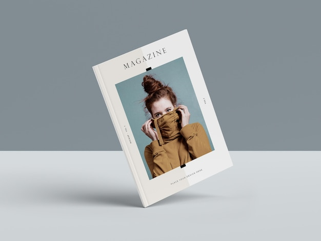 Woman on the cover of a book editorial magazine mock-up Free Psd