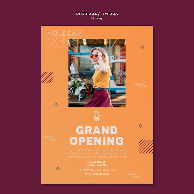 Woman in daylightholiday poster print template Free Psd