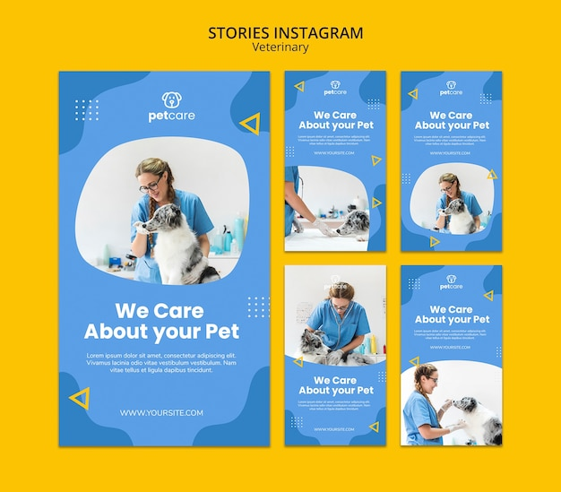 Modello di storie di instagram veterinario cane e donna Psd Gratuite