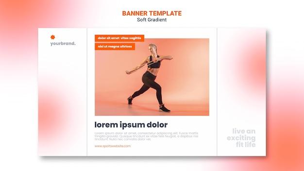 Женщина делает упражнения на растяжку баннер шаблон Бесплатные Psd