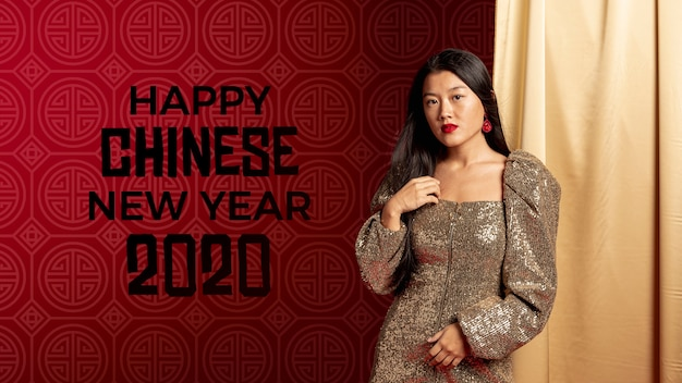 Woman dressed elegant for new year night Free Psd