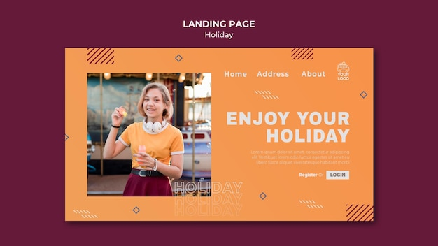 Woman enjoying her holiday landing page Free Psd