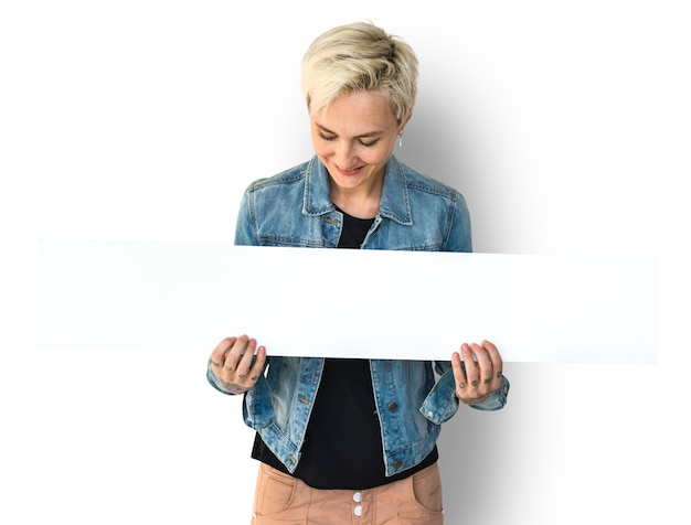 Woman hands hold show blank box banner Premium Psd