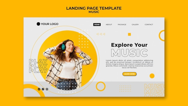 Woman listening to music landing page template Free Psd