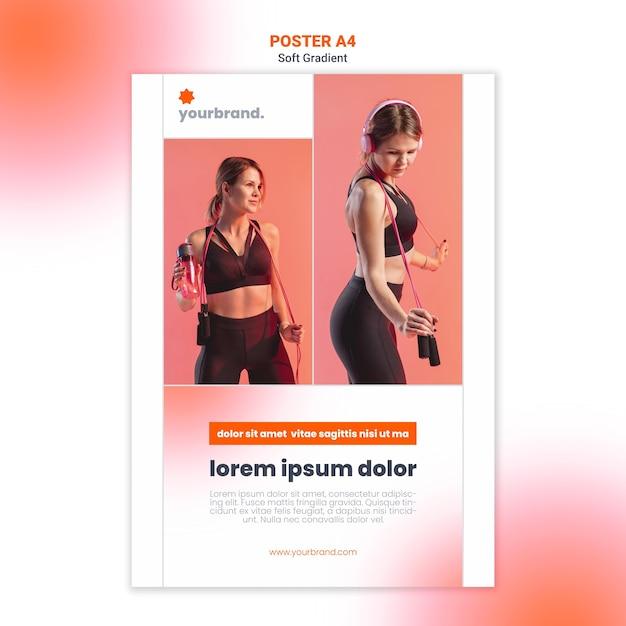Женщина слушает музыку фитнес-плакат шаблон Бесплатные Psd