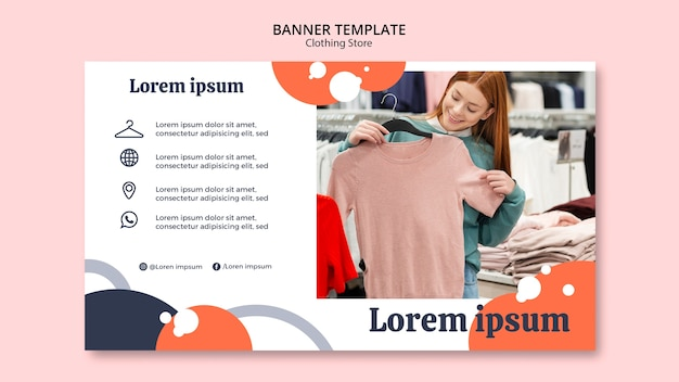 Woman looking at a blouse in clothing store banner Free Psd