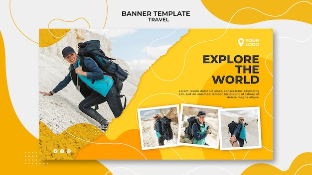 Woman at the mountains landing page Free Psd