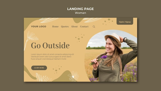 Donna all'aperto landing page design Psd Gratuite