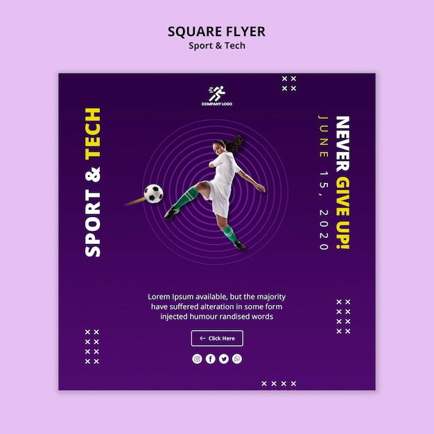 Woman playing football square flyer template Free Psd