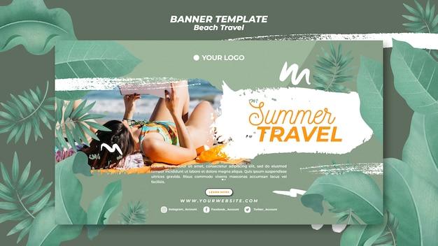Woman reading on beach summer travel banner Premium Psd