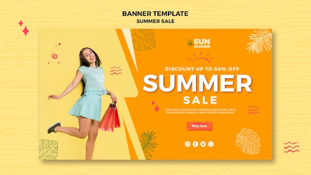 Woman shopping summer sale banner Free Psd
