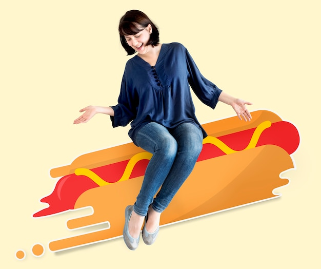 Woman sitting on an illustrated hot dog Premium Psd