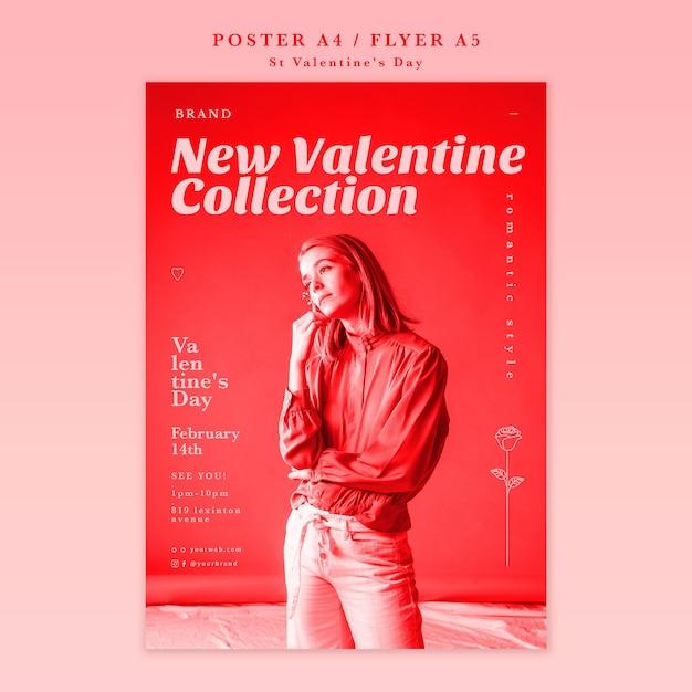 立っていると離れてバレンタインデーのポスターを探している女性 無料 Psd